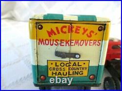 1950's-MARX WALT DISNEY-MICKEY MOUSEKEMOVERS MOVING VAN-TIN VINTAGE TOY-JAPAN