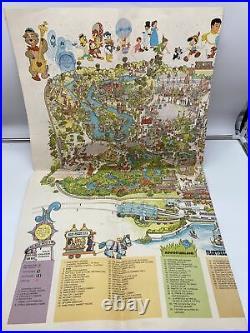 1979 DISNEY Magic Kingdom Walt Disney World Park Map Poster Vintage- Rare