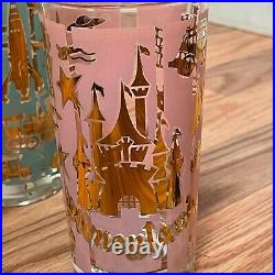 4 Vintage 1957 Walt Disney Disneyland Highball Glass Cups Drinking Glasses Gold