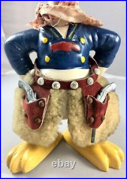 9 Antique American Composition Donald Duck Gunslinger Doll! Rare! 18027