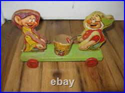 Antique Vtg 1930s 1937 Fisher Price 770 Walt Disney Dopey Doc Pull Toy Drummer