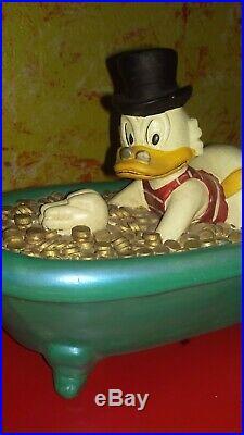 Dagobert Duck Figur Scrooge schwimmen in Geld Länge 34cm Walt Disney