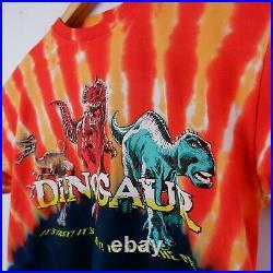 Disney DINOSAUR Shirt Medium Orange Black Tie Dye Animal Kingdom VTG 2001 A17-06