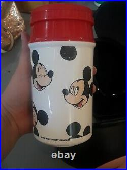 MICKEY MOUSE Head Lunch Kit Box Aladdin with Drink Thermos VINTAGE Walt Disney