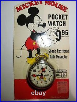 Mickey Mouse 1970 Vintage Bradley Time Winding Pocket Watch Walt Disney New NOS