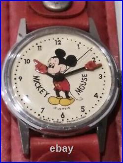 Mickey Mouse Wrist Watch Walt Disney Original Box Swiss made Vintage Rare