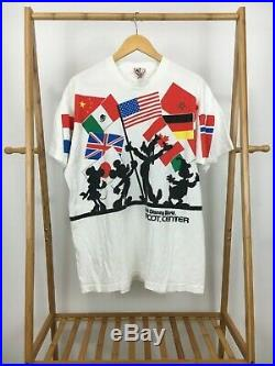 RARE VTG Walt Disney World Epcot Center All Over Print Double Side T-Shirt USA