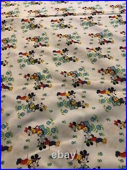 RARE Vintage Blue Walt Disney Mickey Minnie Mouse Mushroom Fabric