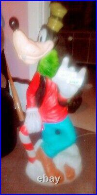 RARE Vintage Santas Best Walt Disney Lighted Blow Mold 36 Goofy Merry Christmas