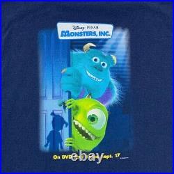 RARE Walt Disney Pixar Vintage Y2k 2002 Monsters Inc. Movie Promo Tee XL