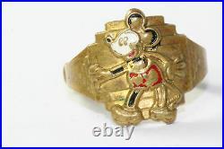 Rare Vintage 1930's 1940's Walt Disney Wdp Brass Enamel Mickey Mouse Ring