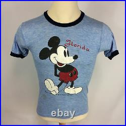 Rare Vintage 70s 80s Thin Mickey Mouse Florida Walt Disney Heather Blue T Shirt
