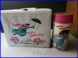 Rare Vintage Mary Poppins Vinyl Lunchbox With Thermos Walt Disney