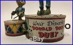 Rare Vintage Walt Disney Donald Duck & Goofy Duet Wind Up Tin Toy by Marx Toys