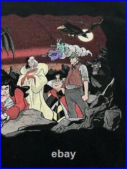 Rare Vtg 90s WALT DISNEY World Villains T Shirt Large Cruella de Vil Scar Hook