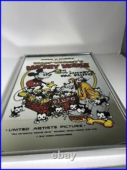Rare Vtg Walt Disney's Mickey Mouse in Mickeys Pal Pluto Mirror Picture