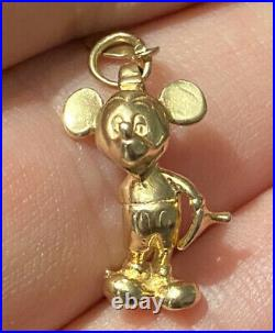 SOLID 14k Gold Vintage Authentic Walt Disney MICKEY MOUSE 3D CHARM Pendant + Tag