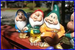Snow White and The Seven Dwarfs Ceramic Figurines Set Walt Disney Prod VINTAGE