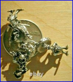 Trio of Vintage Sterling Silver 3-D Walt Disney's The Three Caballeros Charms