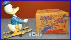 VINTAGE 1950's MARX WIND UP WALT DISNEY'S DONALD DUCK THE SKIER with ORIGINAL BOX