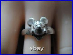 VINTAGE STERLING SILVER MICKEY MOUSE RING Walt Disney Size 7.5