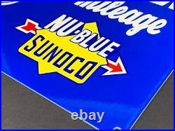 VINTAGE SUNOCO BLUE MICKEY MOUSE With CAR! 12 METAL WALT DISNEY GASOLINE OIL SIGN