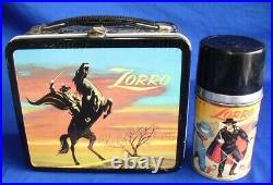 VINTAGE WDP ZORRO METAL LUNCH BOX WithTHERMOS WALT DISNEY PRODUCTIONS ALADDIN LQQK