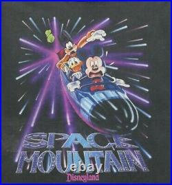 VTG 90s DISNEYLAND Mickey SPACE MOUNTAIN SINGLE STITCH BLACK DISTRESSED LARGE