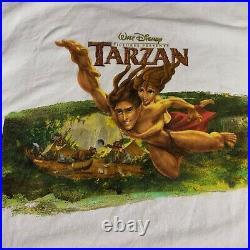 VTG Disney Tarzan Movie Promo Graphic t shirt Adult XL Disney Store White Delta