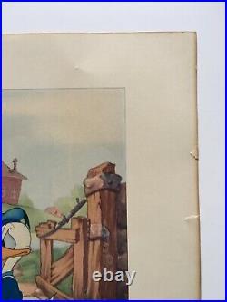 VTG WALT DISNEY PRODUCTIONS WDP Color Lithograph 11x14 DONALD DUCK ANGEL HALO