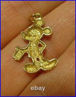 Van Dell VTG Walt Disney 14KT Gold Mickey Mouse Necklace Pendant Bracelet Charm