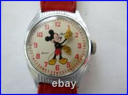 Very Fine Vintage Ingersoll Mickey Mouse US Time Walt Disney Manual Wind Watch