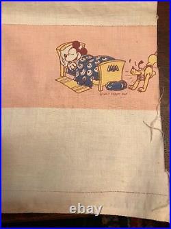 Vintage 1930's Walt Disney Enterprises Fabric Mickey Mouse Sleeping Pluto RARE