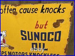 Vintage 1939 Sunoco Oil Porcelain Metal Sign Walt Disney Mickey Gas Petroliana