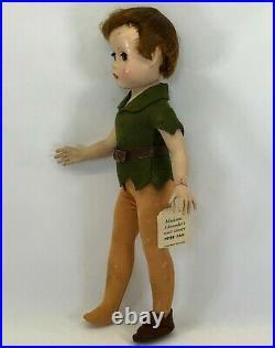 Vintage 1950s Madame Alexander Walt Disney Peter Pan 14 Doll withHang Tag RARE