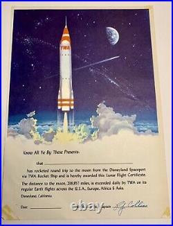 Vintage 1955 Walt Disney Original Disneyland TWA Rocket Pamphlet & Certificate