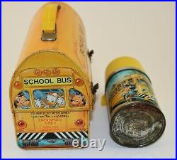 Vintage 1960 Walt Disney School Bus Dome Metal Lunch Box withthe Very Rare Thermos