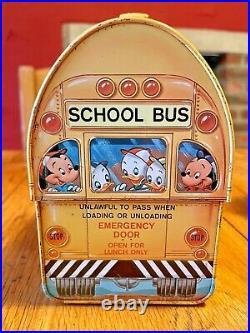 Vintage 1960's Walt Disney School Bus Tin Lunch Box + Thermos Metal lithograph