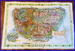 Vintage 1964 Walt Disney Disneyland Souvenir Park Wall Map 44.5 x 30