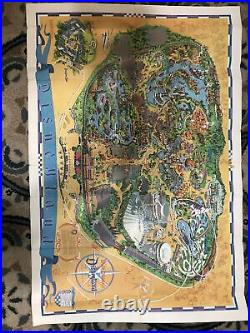 Vintage 1968 Disney Large Wall Map Walt Disneyland Poster Guide Original 45 x 30