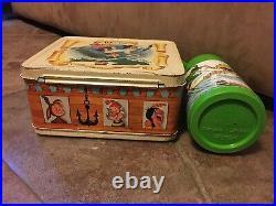 Vintage 1969 Walt Disney Peter Pan Metal Lunch Box With Matching Thermos GC