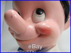 Vintage 1971 Walt Disney Pinocchio Bank large 10 big figural head piggy savings