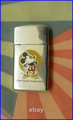 Vintage 1980 Walt Disney Mickey Mouse Zippo Slim Lighter, Nice