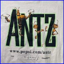 Vintage 1998 Dream Works Walt Disney Antz Movie Pepsi Promo Graphic T Shirt
