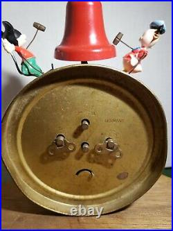 Vintage 50s Mickey& Donald Duck Windup Alarm Clock Made In Germany Used