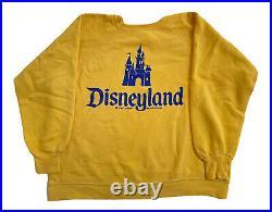 Vintage 60s Disneyland Castle Large Yellow Sweatshirt Walt Disney Gusset