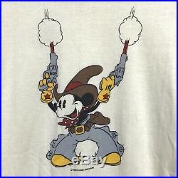 Vintage 70s 1980s Mickey Mouse Cowboy Gun Mens Large T-Shirt Walt Disney RARE