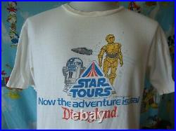 Vintage 80's Walt Disney Star Wars Tours Disneyland T Shirt L