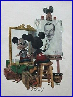 Vintage 90's Mickey Mouse Walt Disney Portrait T Shirt Size 2XL Art Beige Rare