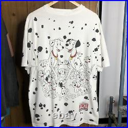 Vintage 90's Walt Disney 101 Dalmations T Shirt One Size All Over Print Oversize